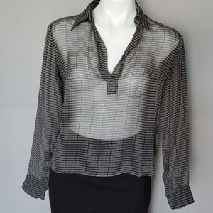 Authentic Burberry Spell Out Sheer Silk Blouse